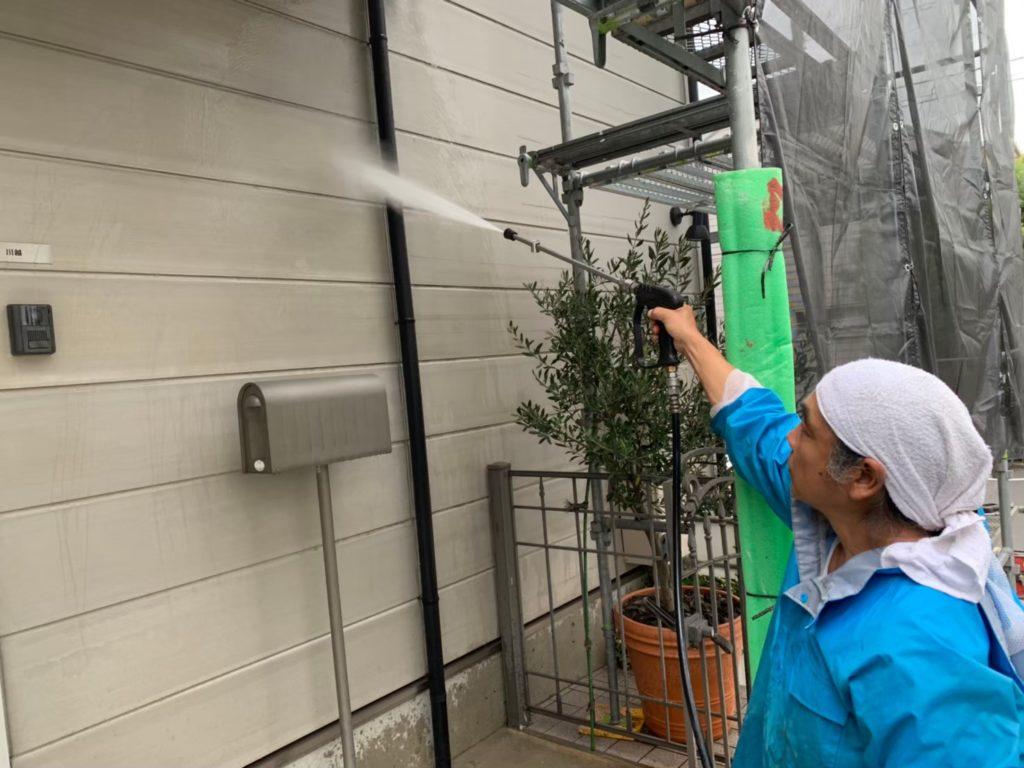 外壁部 高圧洗浄の施工写真です。
